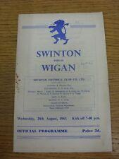 28/08/1963 Rugby League Programme: Swinton v Wigan  (folded, rusty staples, Scor