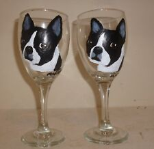 Boston Terrier Dog Wine Glasses set 2 Hand Painted by Pet Lovers Boutique
