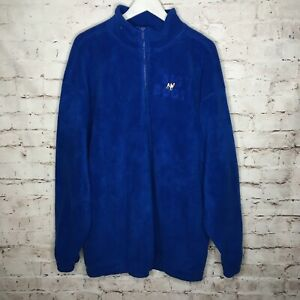 Big Dogs Mens Large Blue Fleece 1/4 Zip Pullover Shirt Jacket With Pockets