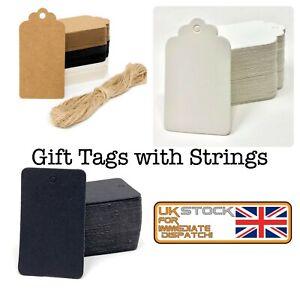 Gift TAGS Premium Eco Kraft Card Label   Free string   100 Per Pack   UK Seller