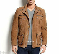 Custom Tailor Made All Size Genuine Blazer Pea Coat Suede Fur Leather Jacket