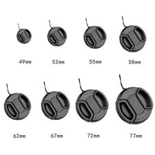 49-77mm Center Pinch Snap On Lens Cap Cover Front For Canon Nikon Sony+String