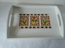 """Small Wood Bed Breakfast Tray Vanity Lap Tray Spring Flowers Roses 12 1/2"""" x 9"""""""