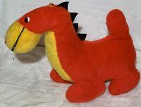 Vintage Superior Toy & Novelty red Yellow Dragon Dinosaur Dino Retro Plush 80s