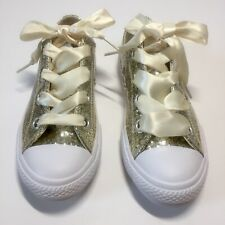 NEW Converse Natural Ivory Glitter Chuck Taylor All Star Big Eyelets Ox Sneakers