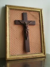 CHRIST BOIS SCULPTE XVIII°s CADRE DECO BOIS DORE TISSU LOUIS XVI ANCIEN ANTIC