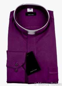 Mens Premium Roman Collar Clergy Shirt (Red-Purple), Tonsure Collar, Long Sleeve