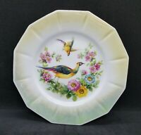 (Set of 4) Germany Green Luster Porcelain Plates w/ gold trim, Peacock, Flowers