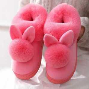 Cotton Slippers Women Autumn Winter  Fur Rabbit Home Warm Bottom Indoor Shoes