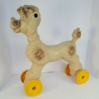 """Vintage Rare Empire Blow Mold Poodle Dog Ride On Large Toy 19"""" x 17"""" Flicker Eye"""