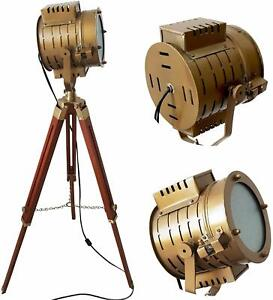 Collectible Hollywood Antique Nautical Spotlight Floor Lamp Brown Tripod Stand