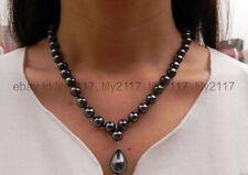 "AAA+ Elegant 8mm Black South Sea Shell Pearl Drop Pendant Necklace 18"""