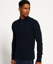Mens Superdry City Long Sleeve Polo Shirt Eclipse ( Eclipse Navy ) 2xl