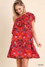 UMGEE One Shoulder Ruffled Floral Print boho red Dress S M L
