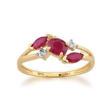 Anelli di lusso con gemme ovale in oro giallo con rubino