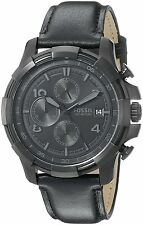 Fossil Men's FS5132 'Grant' Chronograph Black Leather Watch