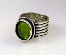 Estate SILPADA Wide Sterling Silver Bright Green Oval Peridot Size 5.5 Ring
