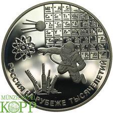 C702) la russie 3 roubles argent 2000 spatiale, astronaute, l'espace