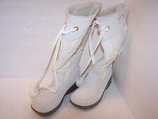 Women's White and Tan Skechers Knee High Boots size 9M Leather/Textile Beautiful