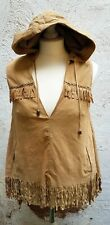 RIVER ISLAND SZ 10 BEIGE SUEDE LEATHER HOODED TOP BOHO FESTIVAL GLAMPING CAMPING