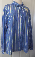 Riders Lee Top Flattering Fit Button Shirt Blue White Striped Women's Size XL