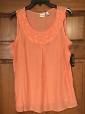 Kim Rogers Womens Blouse Shirt Top Sleeveless Coral Polished Woven NWT $46 Large