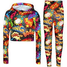 Kids Girls Wow Bang Boom Crop Top Hooded T Shirt Legging Lounge Wear Set 7-13 Yr