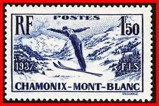 FRANCE 1937 SKIING SC#322 MLH VF CV$14.00 MOUNTAINS, SPORTS (E15)