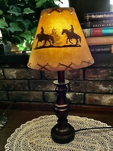 """Rustic Oiled Kraft Laced Western Cowboy Wilderness 9"""" Lamp Shade Clip On Bulb"""