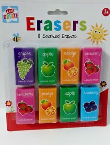 8 SCENTED FRUITY ERASERS FUN STATIONERY KIDS SCHOOL RUBBERS EQUIPMENT