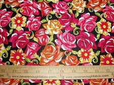 Cotton Fabric Festive Sugar Skull ROSES on Black BRIGHT COLORS  (DT) BTY