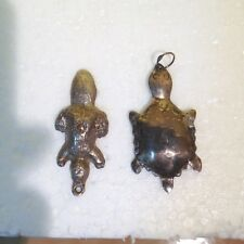 Antique  Sterling Silver Turtle &  Beaver Pendants  Native American Fur Trade
