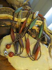 New listing Vintage Faux Citrine, Amber, Agate, Malachite Plastic Lucite Seed bead Necklace