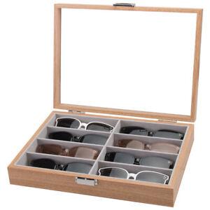 Holz Brillenkoffer 8 Brillen Brillenaufbewahrung Brillenbox Brillenpräsentation