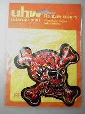 roter Totenkopf Glitzer Aufkleber 1970er Jahre UHW Sticker 10cm x 9cm OVP