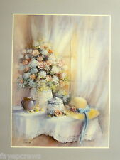 ROSES AND CARNATIONS PICTURE VASE STRAW HAT PRINT ONLY 16X20
