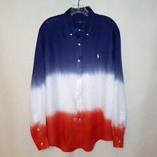 Ralph Lauren Polo Red White Blue Tie Dye Linen Long Sleeve Shirt Men's Large