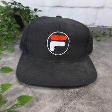 Vintage Embroidered FILA Brand Sports Black Snapback Cap