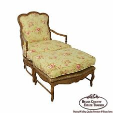 Calico Corners French Country Bergere Lounge Chair w/ Ottoman