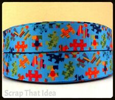 "Autism Puzzle  RIBBON. 7/8"" Grosgrain. Scrapbooking/Craft/Bows. Jigsaw,Awareness"