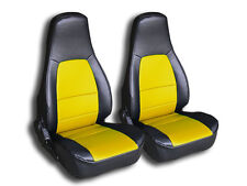 MAZDA MIATA 1990-2000 BLACK/YELLOW IGGEE S.LEATHER CUSTOM FIT FRONT SEAT COVER