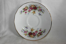 Queen Anne Bone China Small Pink Yellow Rose Pattern  Tea Cup Saucer