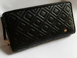 Tory burch flening continental zip around wallet black
