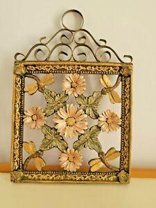 "Vintage Cut Out Floral Plaque 3d Gold Resin Metal Scrolls 12""X8"""