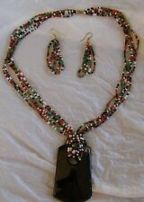 AFRICAN BEADED MULTICOLOURED EARRINGS & NECKLACE SET