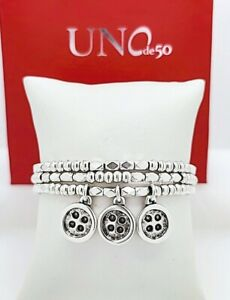NEW UNO de 50 Silver Red Two Thread of Life 3 Buttons Strands Bracelet