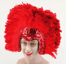 Red Feather Headdress Deluxe Model Fancy Dress Showgirl Moulin Rouge