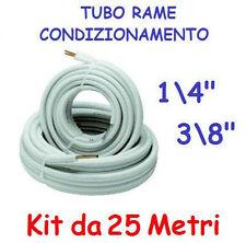 """KIT METRI 25 MT TUBO ROTOLO RAME CONDIZIONAMENTO CLIMATIZZATORE 1/4"""" + 3/8"""""""