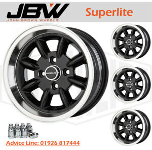 7x 13 Superlite Wheels Classic Ford Set of 4 Black