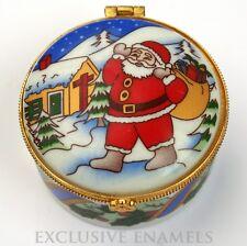 Santa Claus Christmas Scene Hinged China Trinket Box